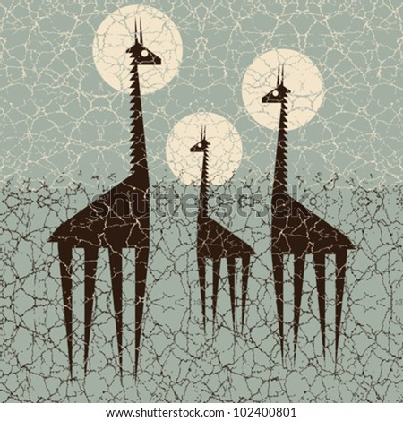 Giraffes family print. Textured globe interconnections concept. Vector.
