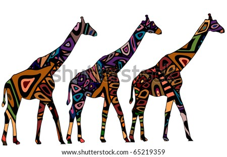 giraffes in ethnic style with a white background