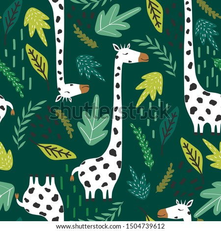 giraffes  leaves  hand drawn