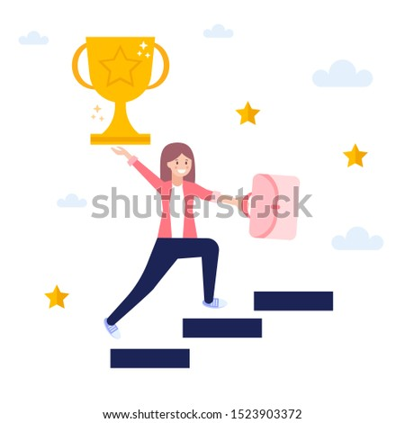Girl achieving success, get trophy,  concept of successful business strategy.Flat vector illustration isolated on white background. Can use for web banner, infographics, web page.