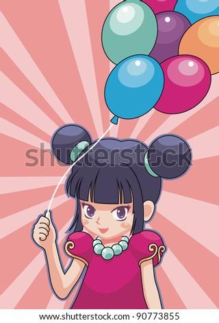 Girl and balloon - stock vector