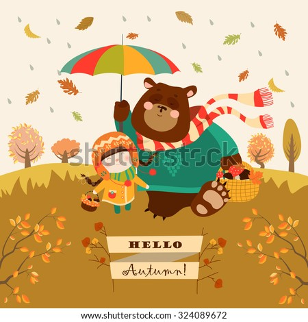 girl and bear walking under an