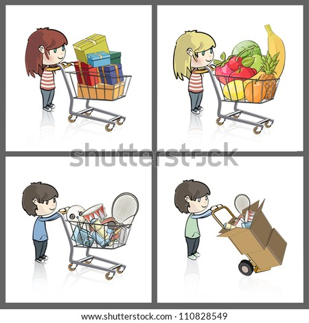 Girl and boy buying many gifts and items in a toy store shop. Vector illustration.