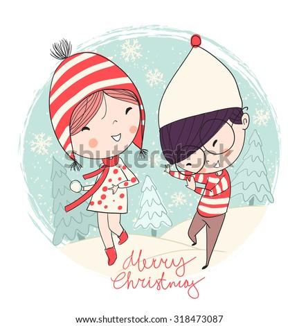 girl and boy christmas card