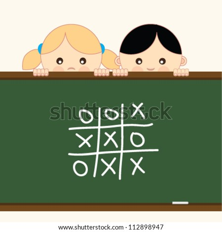 Girl and boy holding a board. Vector illustration.