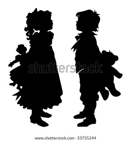 girl and boy holding teddy bear ...