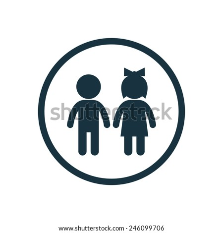 girl and boy icon on white background  - Shutterstock ID 246099706