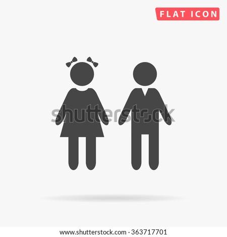 girl and boy icon vector girl