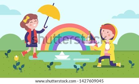 girl and boy kids playing