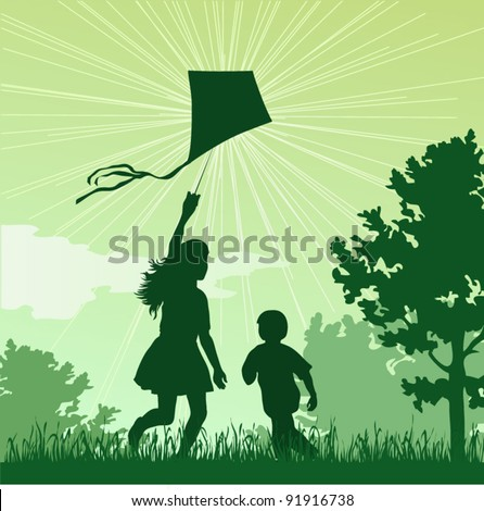 Girl and boy launching a kite in the sky, vector illustration