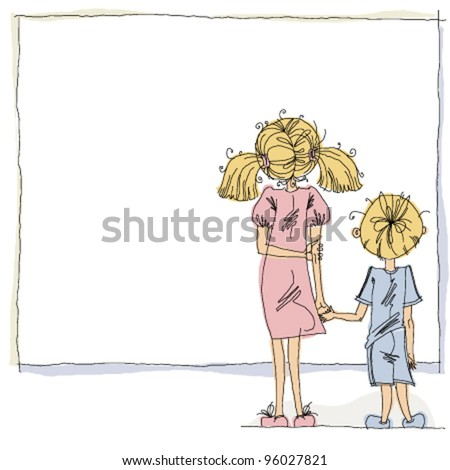 girl and boy looking at blank