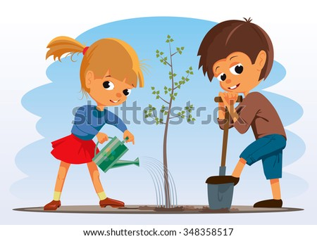 girl and boy planted a tree