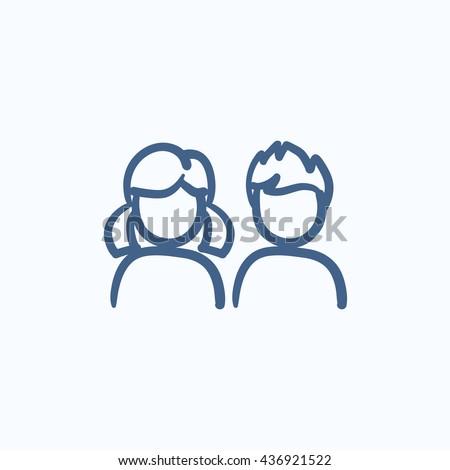 girl and boy vector sketch icon