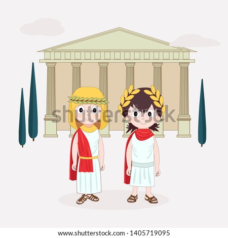 Girl and boy wearing ancient costume. Ancient Rome for children. Vector illustration with Temple and trees on background.