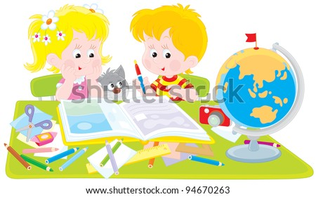 Girl and boy with a scrapbook Stock photo ©