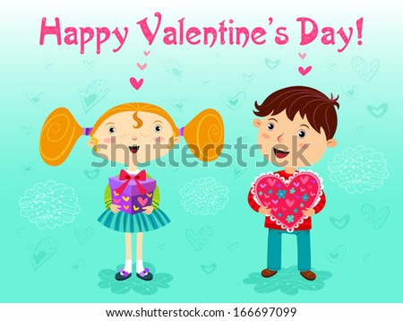 girl and boy with gifts