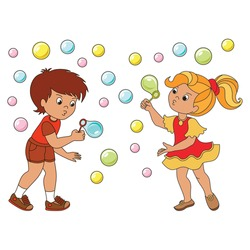 Girl and Boy with soap bubbles infant cartoon. Outlined illustration with thin line black stroke
