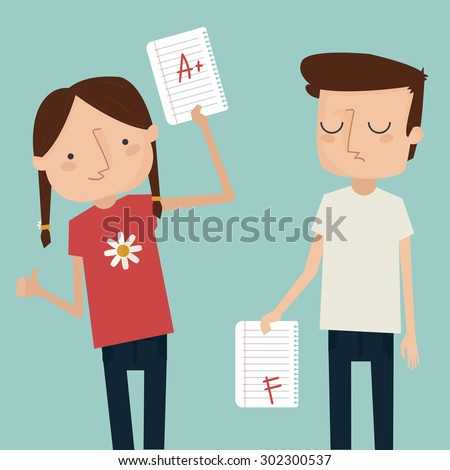 girl and boy with test results