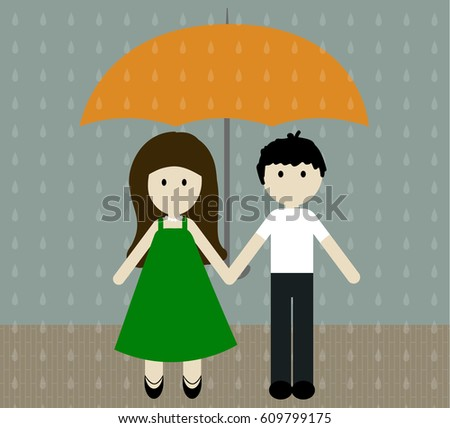 girl and boy with umbrella in