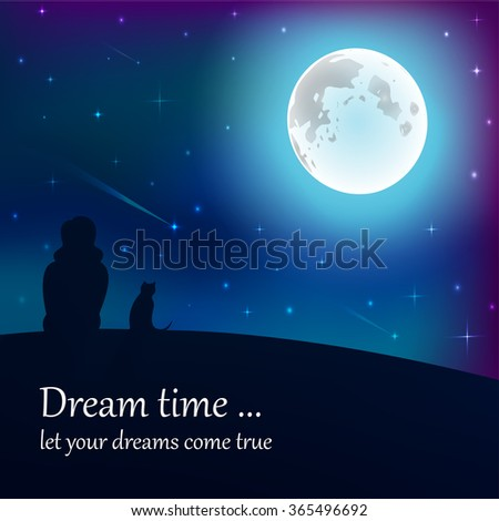 Girl and cat sitting on earth, looking at moon under stars in night sky with text place. Vector illustration. Good for memory card design or book illustration. #365496692
