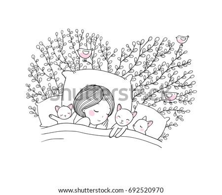 Girl And Cats Sleep In BedGood Night Sweet Dreams Vector Illustration