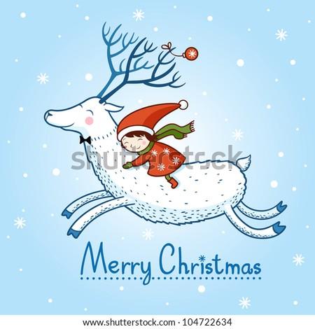 girl and deer Christmas.card with Christmas deer