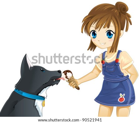 girl and dog eating ice cream