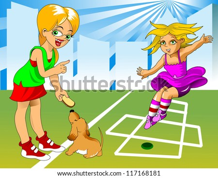 girl and dog playing on the playground