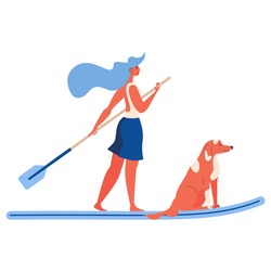Girl and dog riding on water with a sup surfing board, vector. Sport illustration concept in orange and blue isolated on white. Togetherness scene