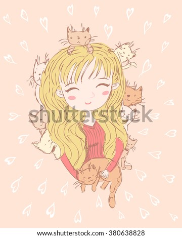 girl and her cats happy cats