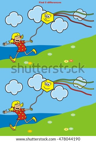 girl and kite  find five