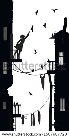 girl and pigeons  girl feeds
