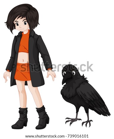 girl and raven on white