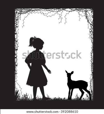 girl and small deer  silhouette