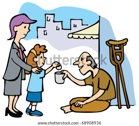 Girl and woman give money to a beggar - stock vector