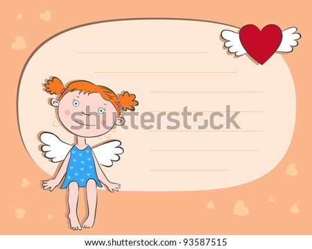 Girl Angel and the letter