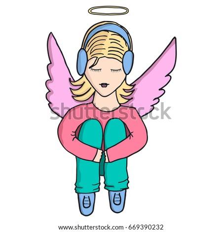 girl angel in headphones