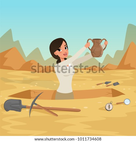Girl archaeologist waist-deep in the pit with old jug in hands. Sky and rocky desert on the background. Archaeological tools. Ancient artifacts excavation. Flat vector