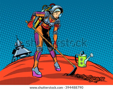 girl astronaut ecology plant