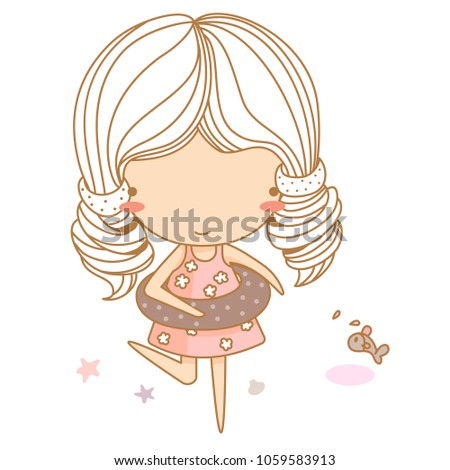 stock-vector-girl-at-beach-with-life-ring-outdoors-vector-illustration-character-design
