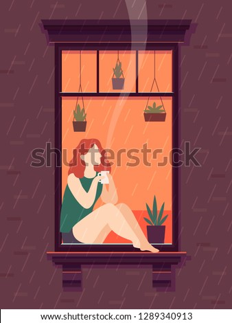Girl at window with coffee. Windows person enjoy drinking coffee tea cup lonely time, cartoon illustration