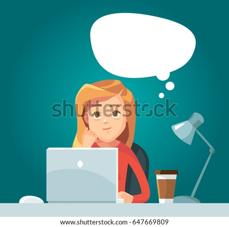 Girl at work day dreaming. Vector illustration with character and thinking bubble