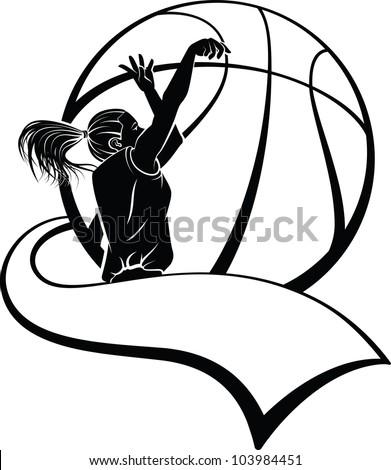Girl Basketball Shooter with Pennant