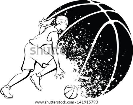 Girl Basketball with Grunge Ball