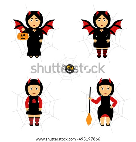 girl bat vector set for