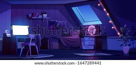 Girl bedroom interior on attic at night. Vector cartoon mansard teenager room with unmade bed, glowing computer screen, moonlight from window in roof and lamps