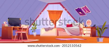 girl bedroom interior on attic