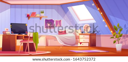 Girl bedroom interior on attic. Vector cartoon mansard teenager room with unmade bed, workspace for study with desk and computer, books and pictures on wall