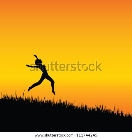 girl black silhouette jumping