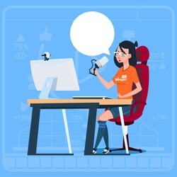 Girl Blogger Sit At Computer Streaming Video Blogs Creator Popular Vlog Channel Flat Vector Illustration